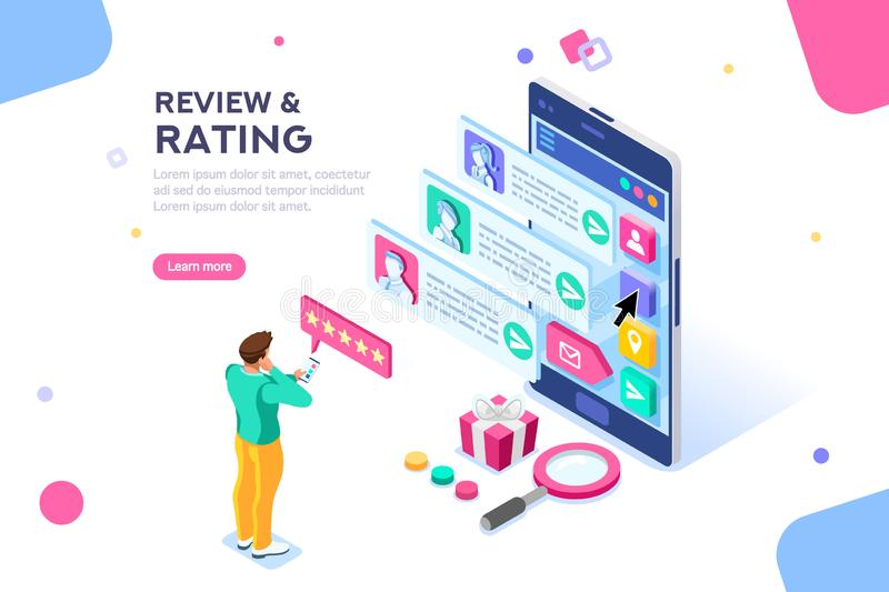 Rating Web Page Template Banner stock illustration