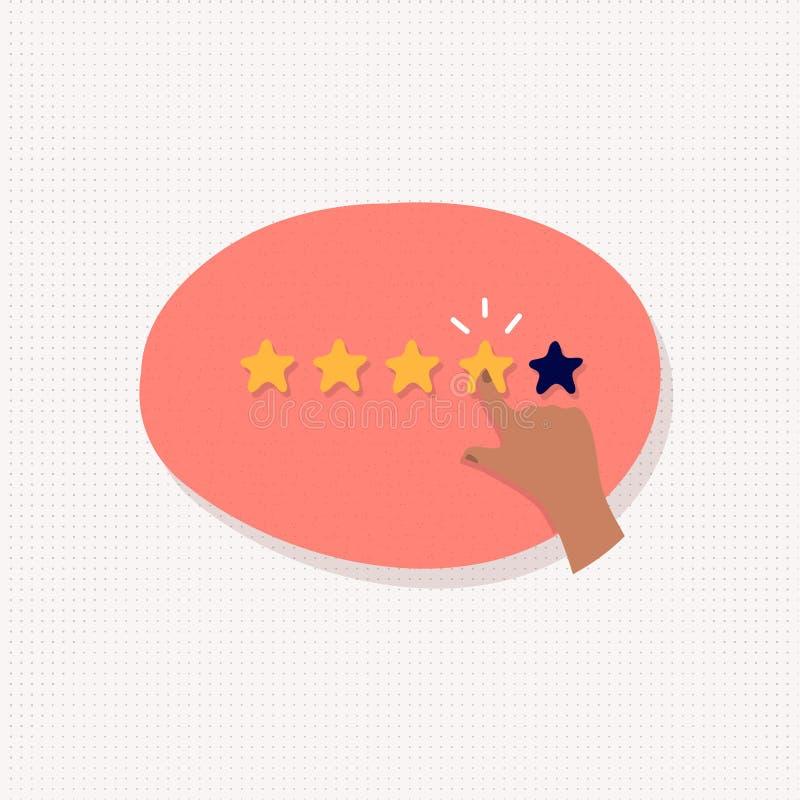Ratingowa ilustracja Pięć gwiazd tempo z ręka znakiem ilustracja wektor