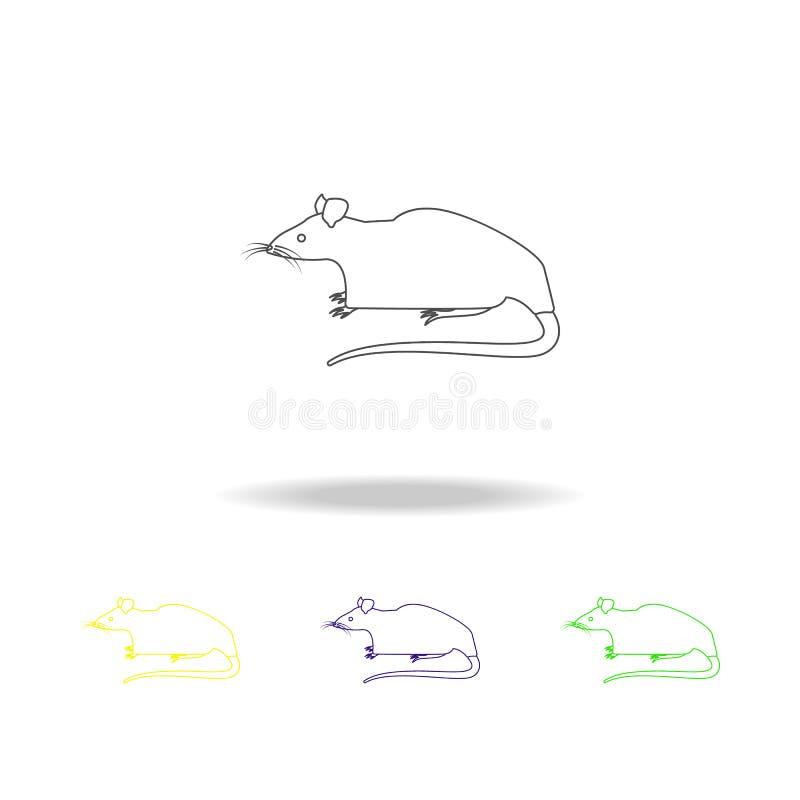 rato, ícones coloridos do esboço do roedor Elemento da ilustração dos roedores Os sinais e os símbolos esboçam o ícone para Web s ilustração royalty free