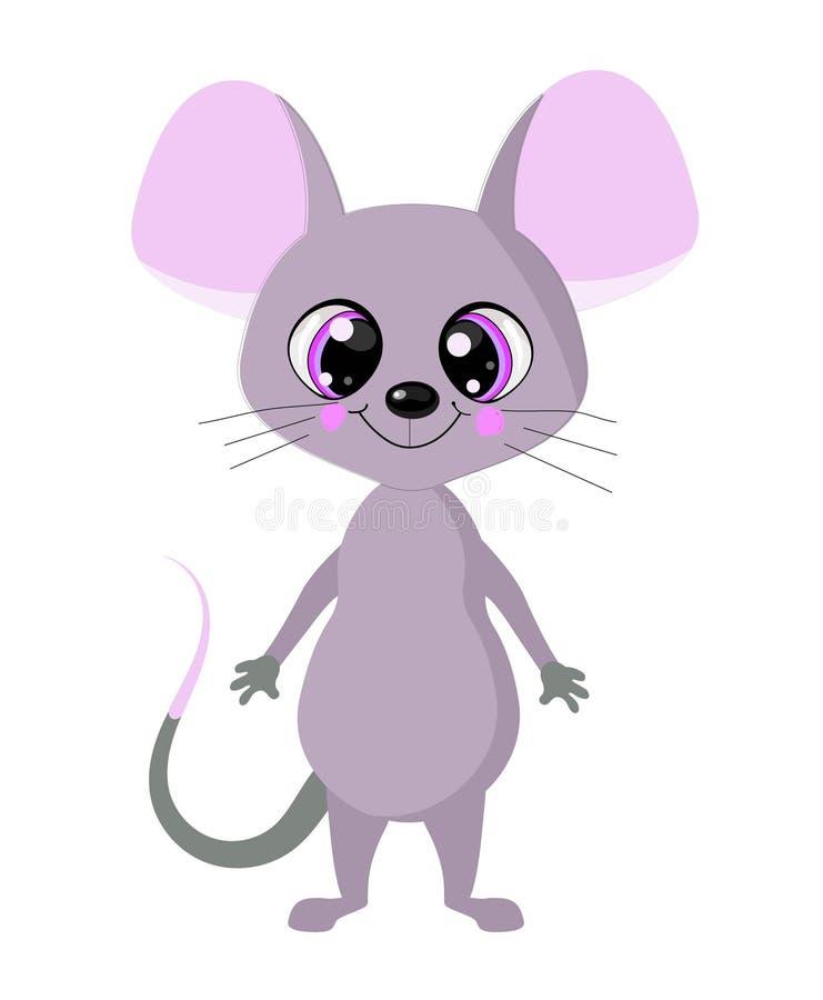 Rato bonito com olhos grandes Em um fundo branco O símbolo de 2020 é o rato ilustração stock