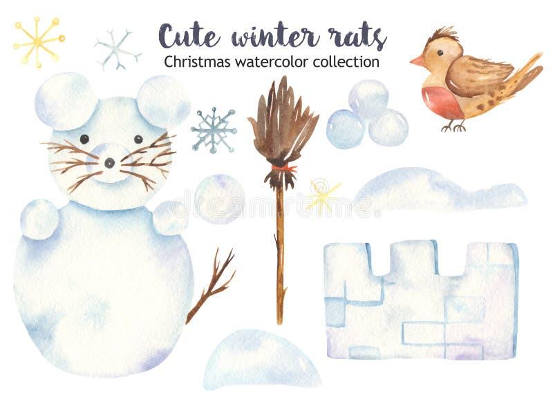 Rato bonito com um boneco de neve, vassoura da neve do Natal da aquarela, fortaleza da neve ilustração stock