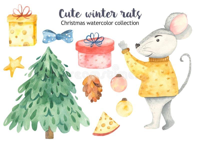 Rato bonito do Natal da aquarela com abeto e presentes