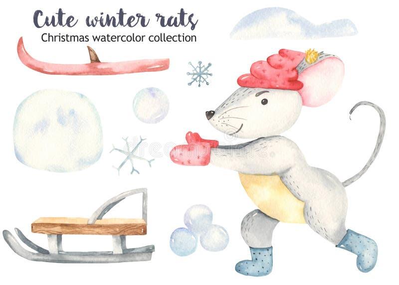 Rato bonito do Natal da aquarela com trenós e esquis