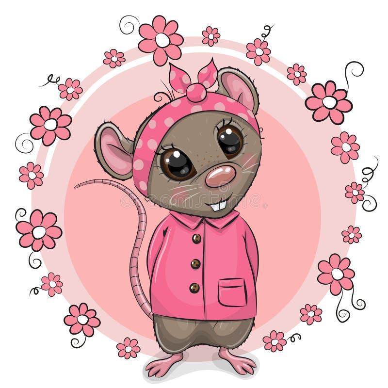 Rato bonito dos desenhos animados com flores ilustração do vetor