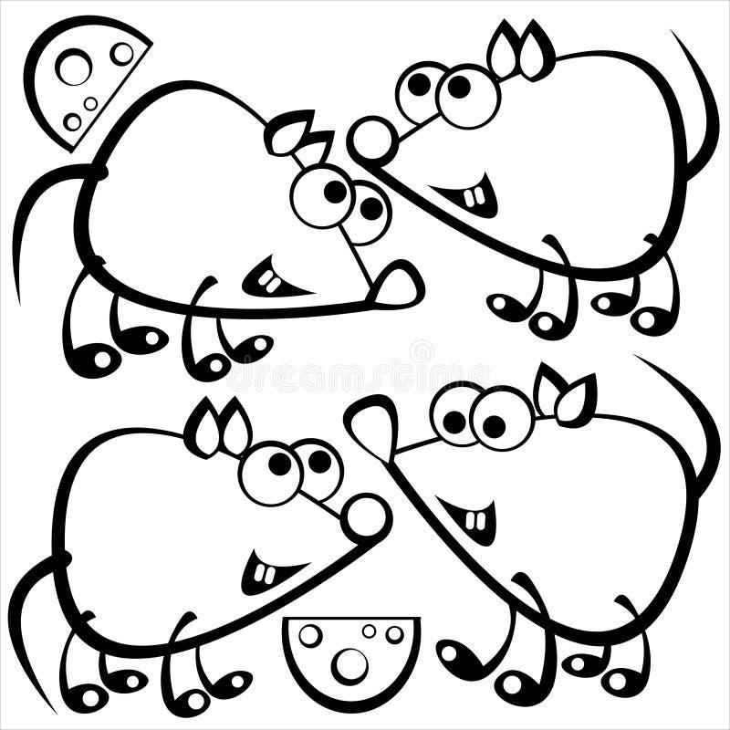 Rato bonito isolado no branco ilustração stock