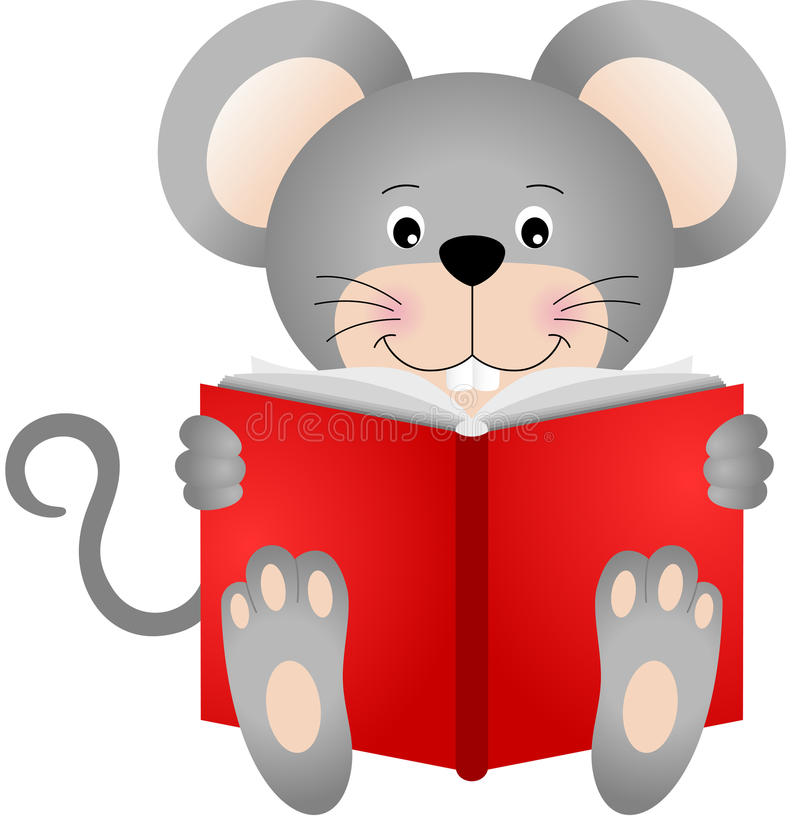 Rato bonito que lê um livro ilustração do vetor