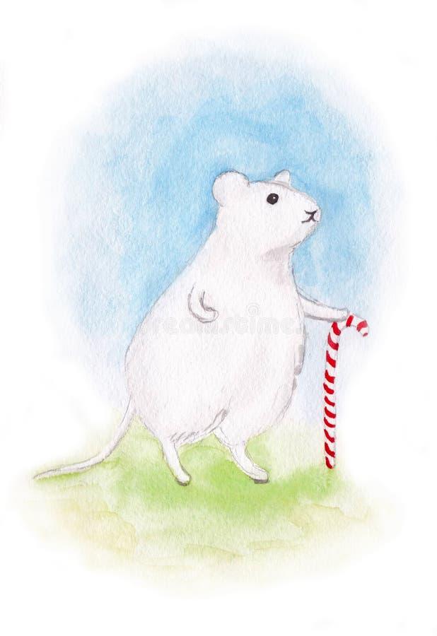 Rato branco com doces do Natal ilustração stock