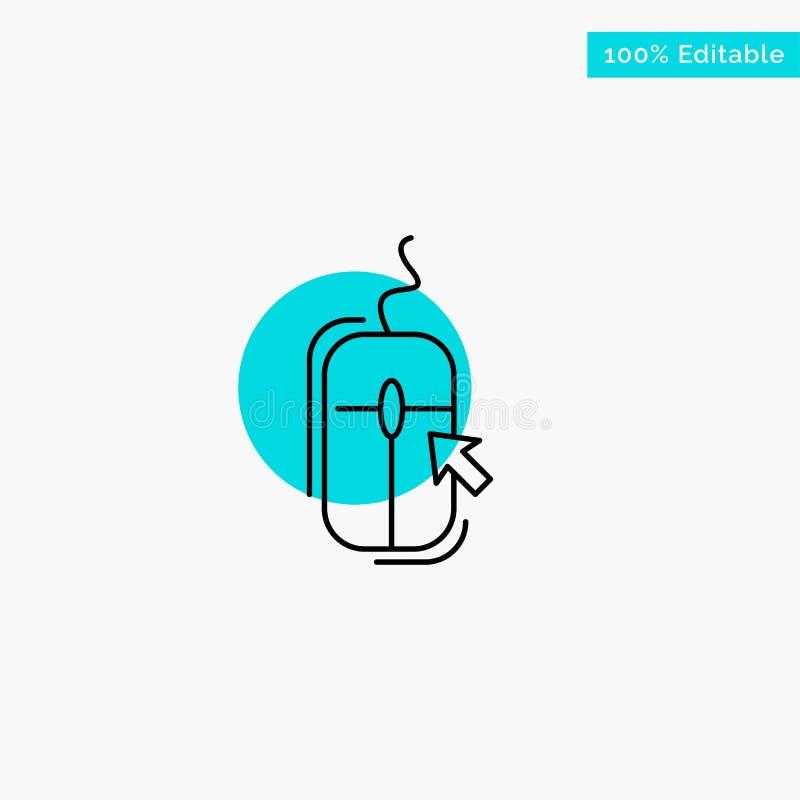 Rato, clique, Internet, ícone em linha, comprando do vetor do ponto do círculo do destaque de turquesa ilustração stock