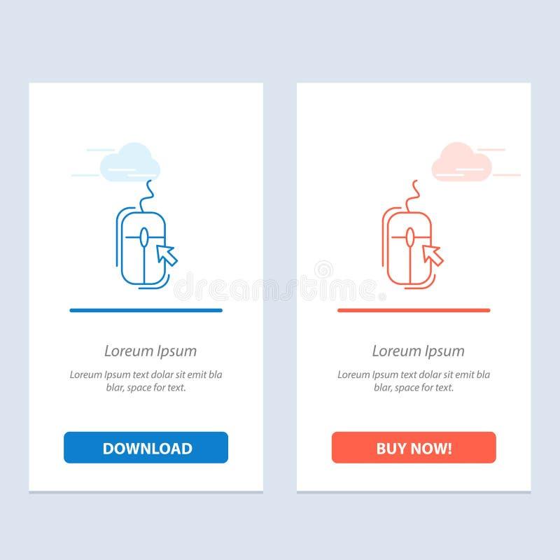 Rato, clique, Internet, azul em linha, comprando e transferência vermelha e para comprar agora o molde do cartão do Widget da Web ilustração stock
