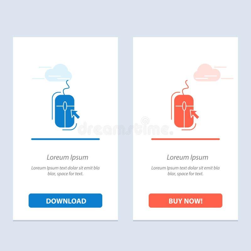Rato, clique, Internet, azul em linha, comprando e transferência vermelha e para comprar agora o molde do cartão do Widget da Web ilustração royalty free