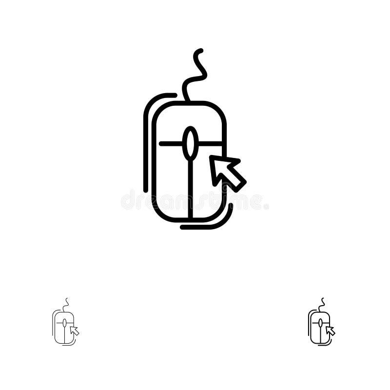 Rato, clique, Internet, em linha, comprando linha preta corajosa e fina grupo do ícone ilustração royalty free