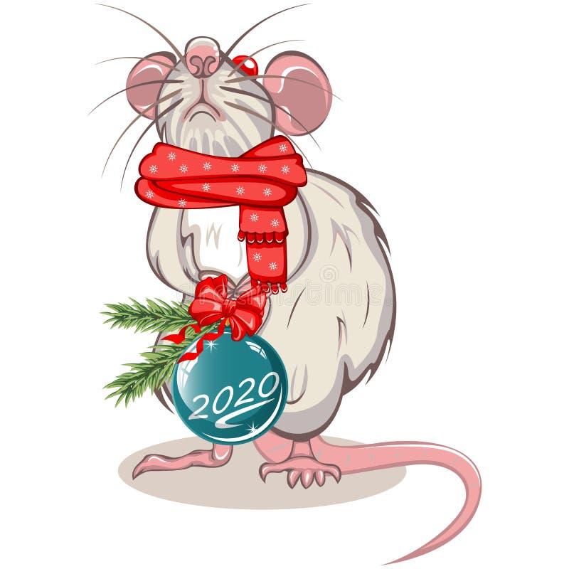Rato com bola do Natal ilustração royalty free