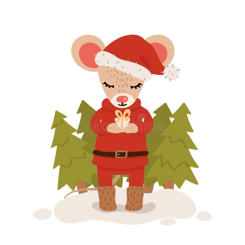 Rato com a caixa de presente entre árvores de Natal Car?ter do Natal e do ano novo isolado em um fundo branco postcard Vetor ilustração royalty free