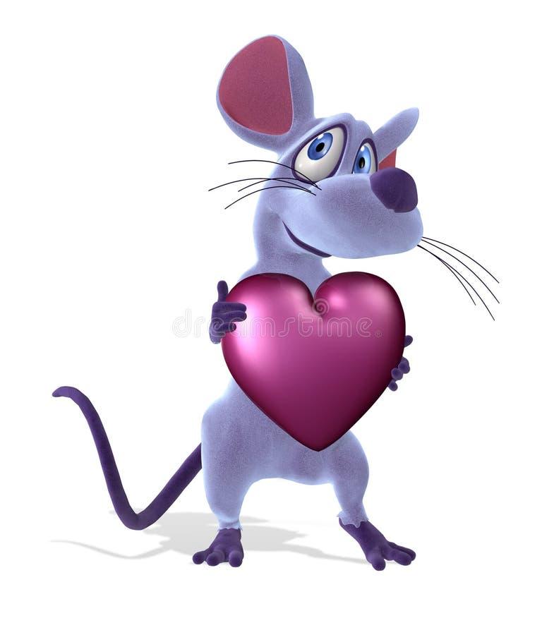 Rato com coração - Pastel
