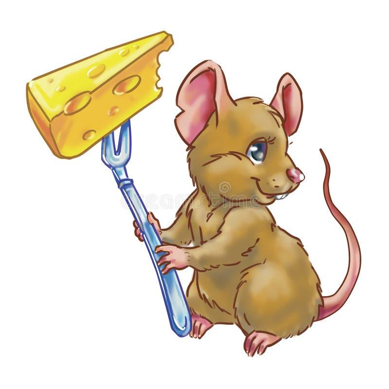 Rato com queijo ilustração royalty free