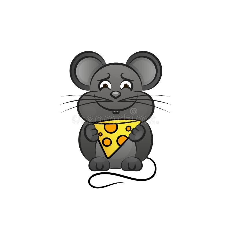 Rato com queijo ilustração stock