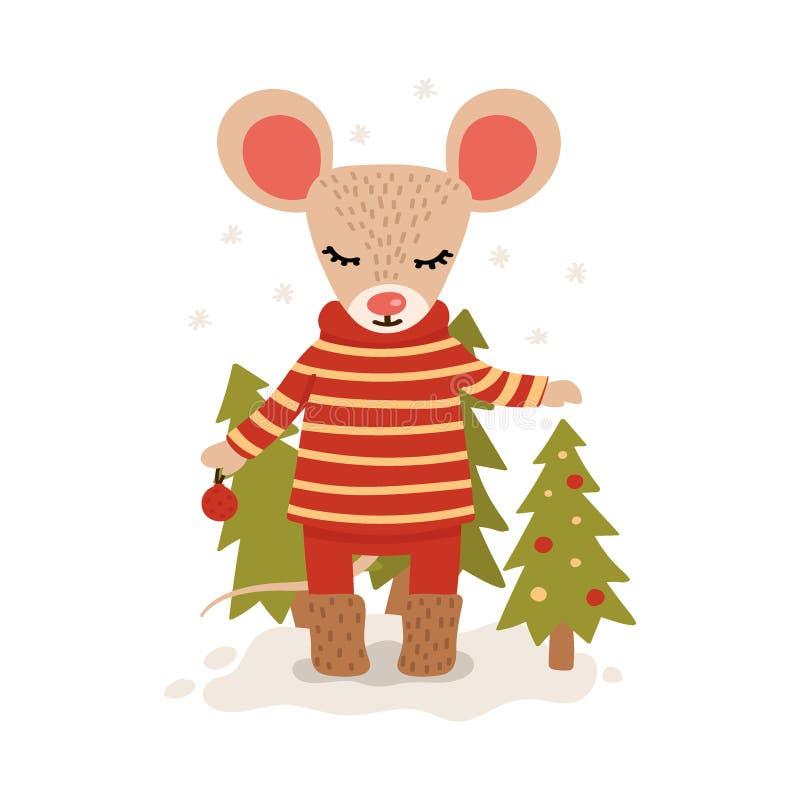 Rato com ?rvores de Natal Car?ter do Natal e do ano novo isolado em um fundo branco postcard Ilustra??o do vetor no ilustração royalty free