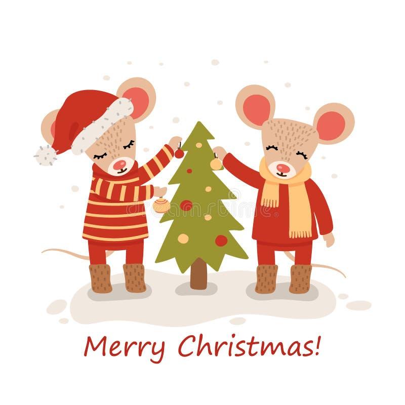 Rato com ?rvores de Natal Car?ter do Natal e do ano novo isolado em um fundo branco postcard Vetor ilustração royalty free