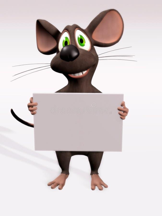 Rato com sinal em branco ilustração do vetor