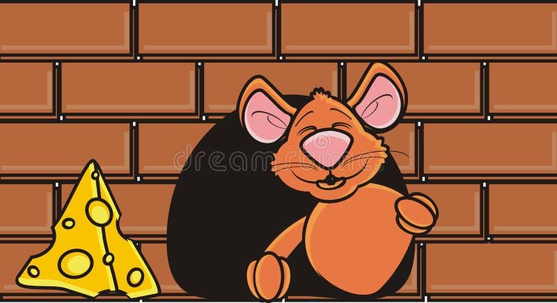 Rato de Brown que espreita para fora de um furo na parede ilustração do vetor
