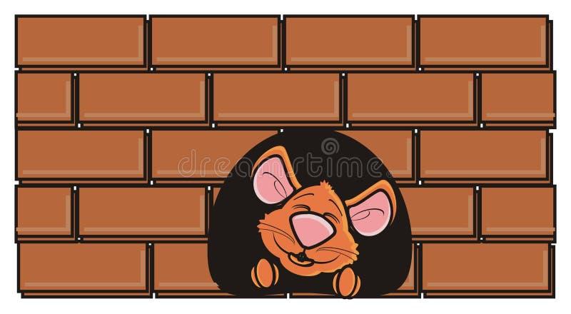 Rato de Brown que espreita para fora de um furo na parede