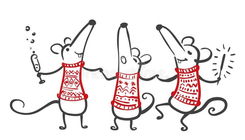 Rato de desenho animado bonito Feliz Ano Novo 2020 Rato, sinal de horóscopo-rato Ano chinês do Rat 2020 Ilustração desenhada à mã ilustração do vetor