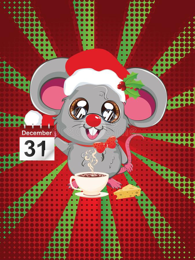 Rato de Kawaii Santa ilustração stock