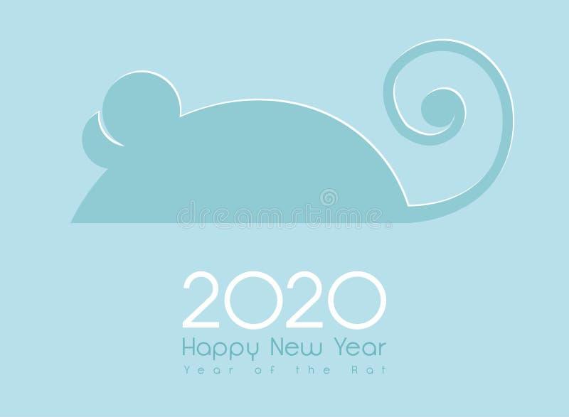 Rato do Ano Novo Chinês 2020 cartão de saudação e design do calendário ilustração do vetor
