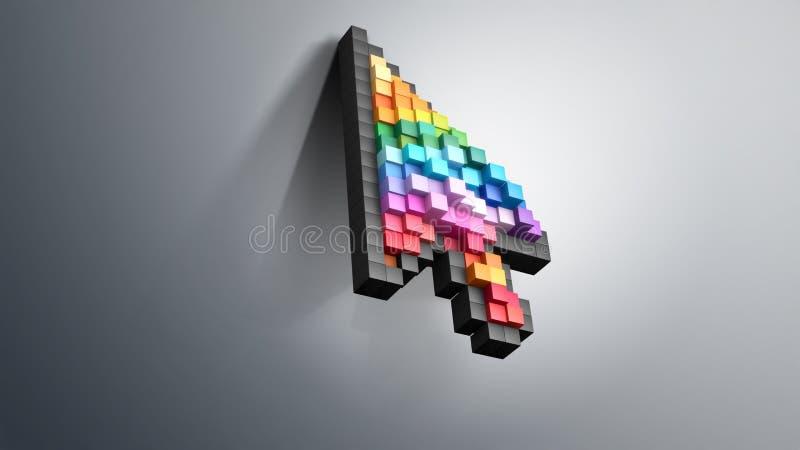 Rato do computador do pixel da cor do cursor ilustração do vetor