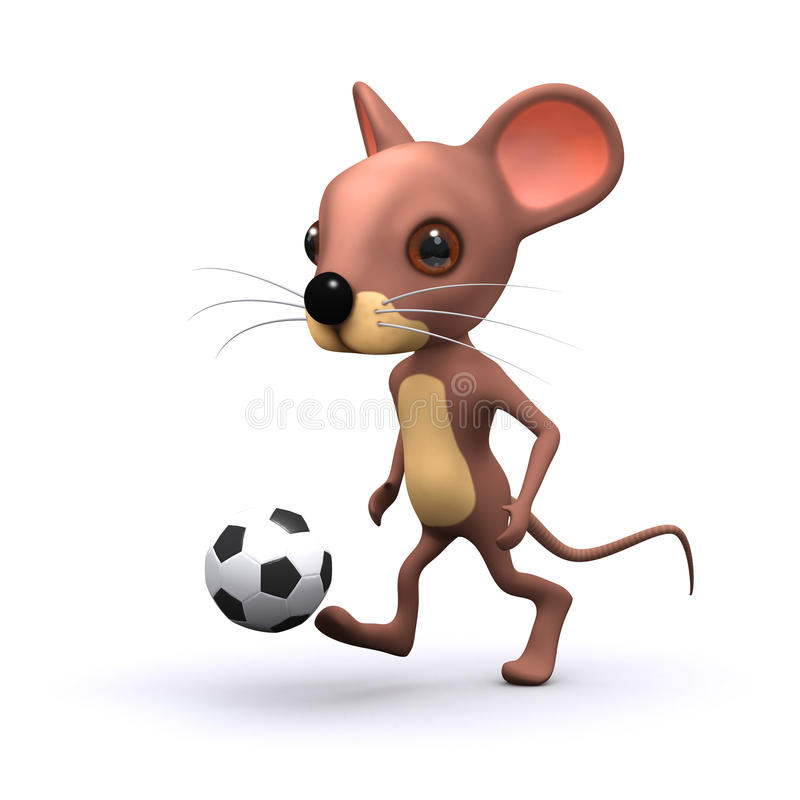 rato do futebol 3d ilustração do vetor