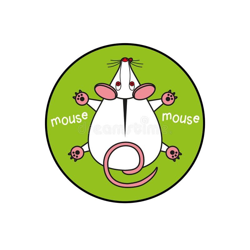 Rato do vetor dos desenhos animados vista superior cinzento Inscreido em um círculo como um fundo do verde do emblema ilustração royalty free
