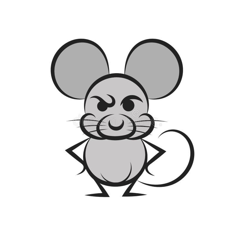 rato dos desenhos animados com uma parte de queijo ilustração do vetor