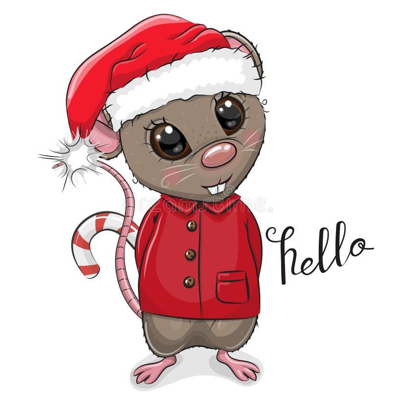 Rato dos desenhos animados no chapéu de Santa em um fundo branco