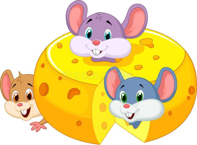 Rato dos desenhos animados que esconde o queijo cheddar interno ilustração royalty free
