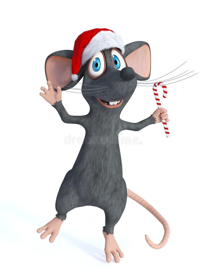 Rato dos desenhos animados que guarda o bastão de doces do Natal ilustração stock