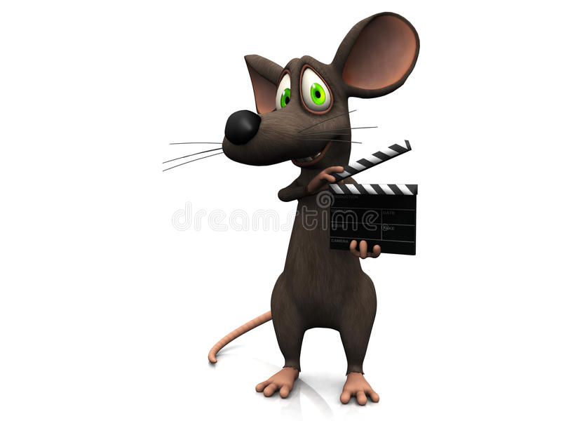 Rato dos desenhos animados que prende uma ripa da película.