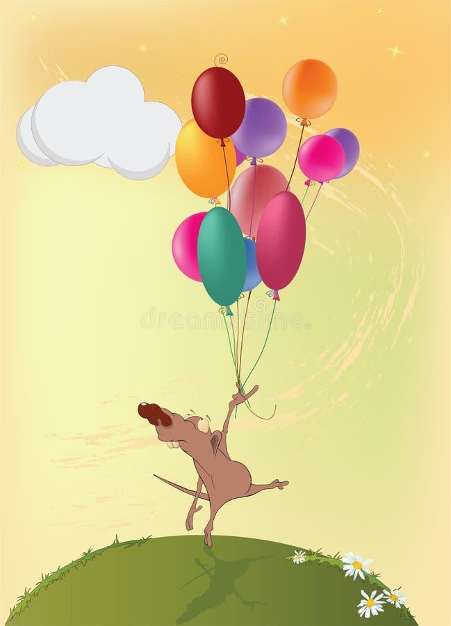 Rato e balões pequenos. Desenhos animados