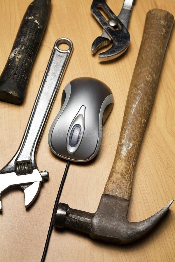 Rato e ferramentas do computador fotografia de stock