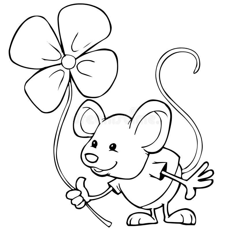 Rato e flor ilustração stock