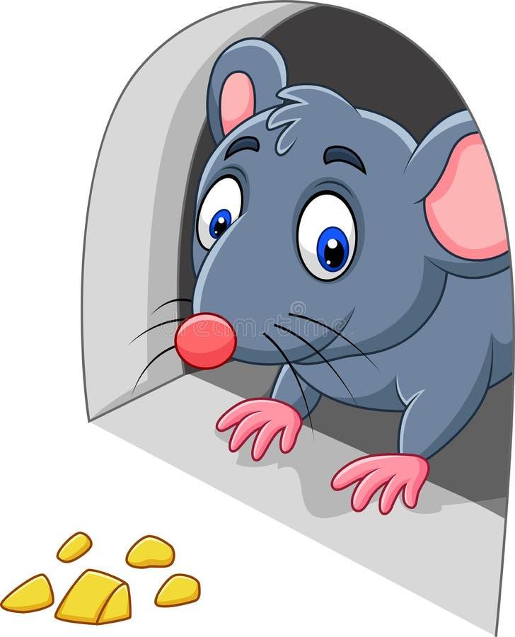 Rato e queijo dos desenhos animados no furo ilustração do vetor