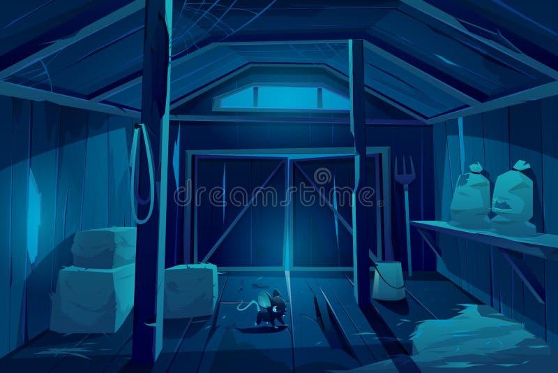 Rato em casa de celeiro de fazenda à noite Camundongo ilustração do vetor