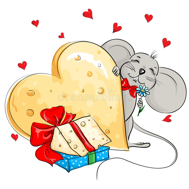Rato feliz com um coração enorme feito do queijo