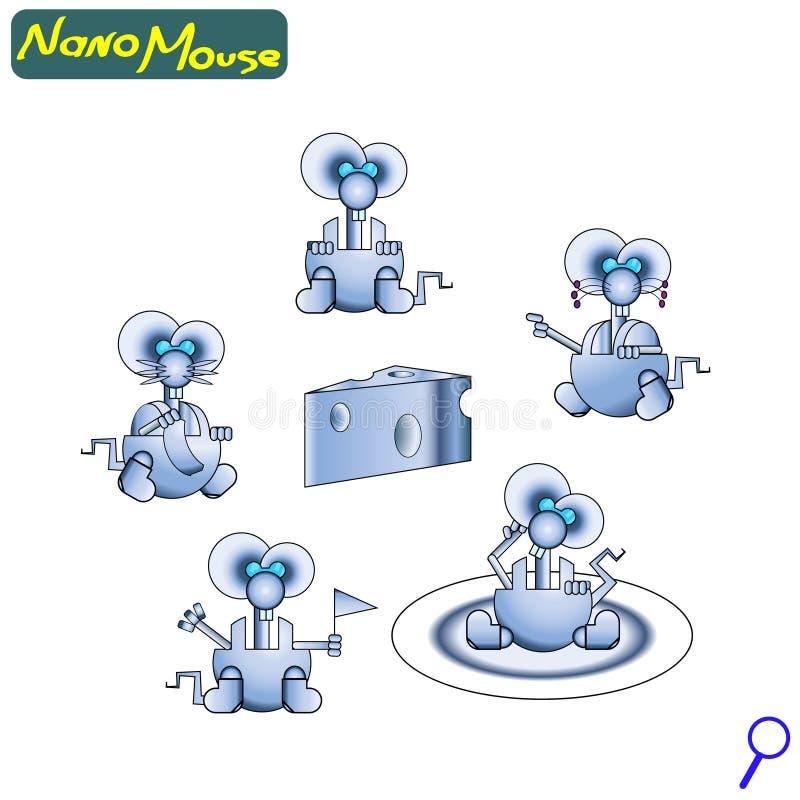 Rato nano moderno do robô Amigável bonito do ferro A tecnologia do futuro ícone jogo ilustração stock