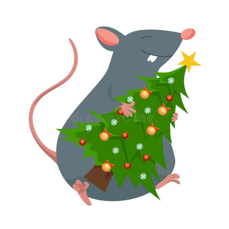 Rato no chapéu de Papai Noel que guarda a árvore de Natal à disposição e o sorriso ilustração stock