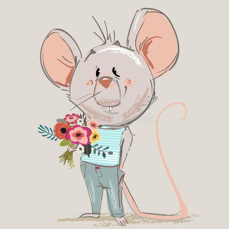 Rato pequeno bonito dos desenhos animados com grinalda floral ilustração royalty free