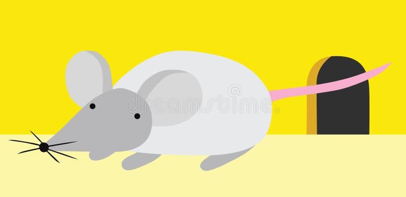 Rato pequeno perto de seu furo ilustração stock