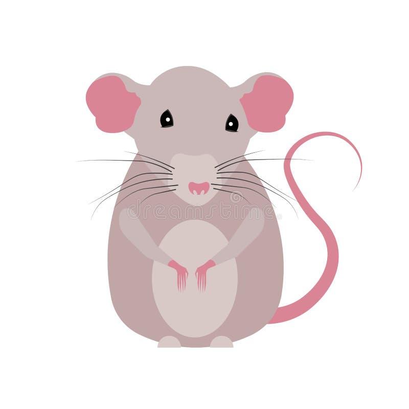 Rato pintado em um estilo liso em um fundo branco Rato agradável Animal, roedor ilustração stock