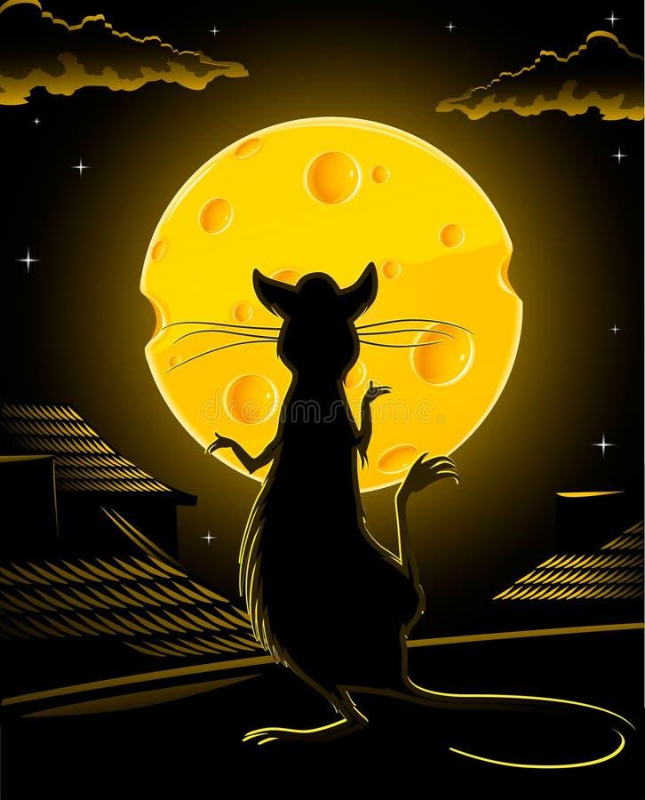 Rato preto e vetor amarelo da lua do queijo