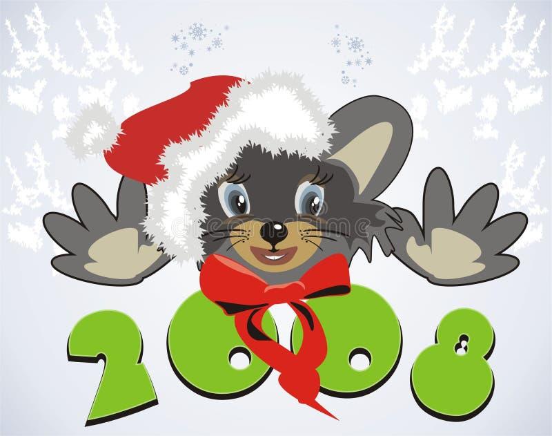 Rato. Santa 2008 ilustração royalty free