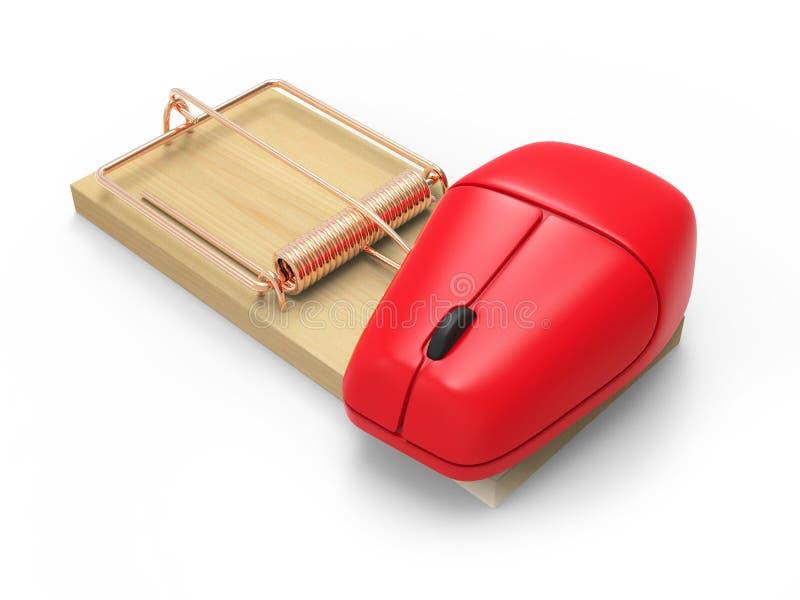ratoeira 3d com rato do computador ilustração do vetor